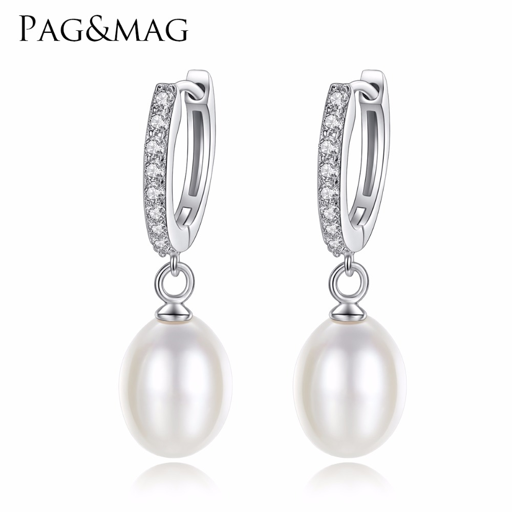 PAG&MAG Classic Genuine 925 Sterling Silver Huggie Hoop Earrings For Women Nature Pearl Elegant Female boucle d'oreille Bijoux