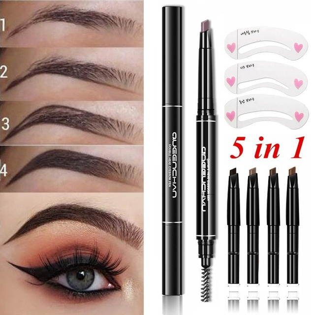 8pcs Professional Automatic Eyebrow Pencil Eye Brow Pen with 4pcs Brush Eyebrow Stencils Cosmetic Makeup Tools Kit 1