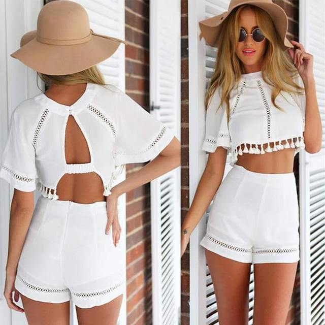2017 Fashion Women Summer Clothing Set Short Sleeve Round Neck Hollowed Shirt Blouse + Solid Shorts Beach Sets H9