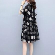 2019 Women elegant dress Fashion Casual Short Sleeve Dress Dot Printing A-Line Dress Beach O-Neck Ladies Loose Dress