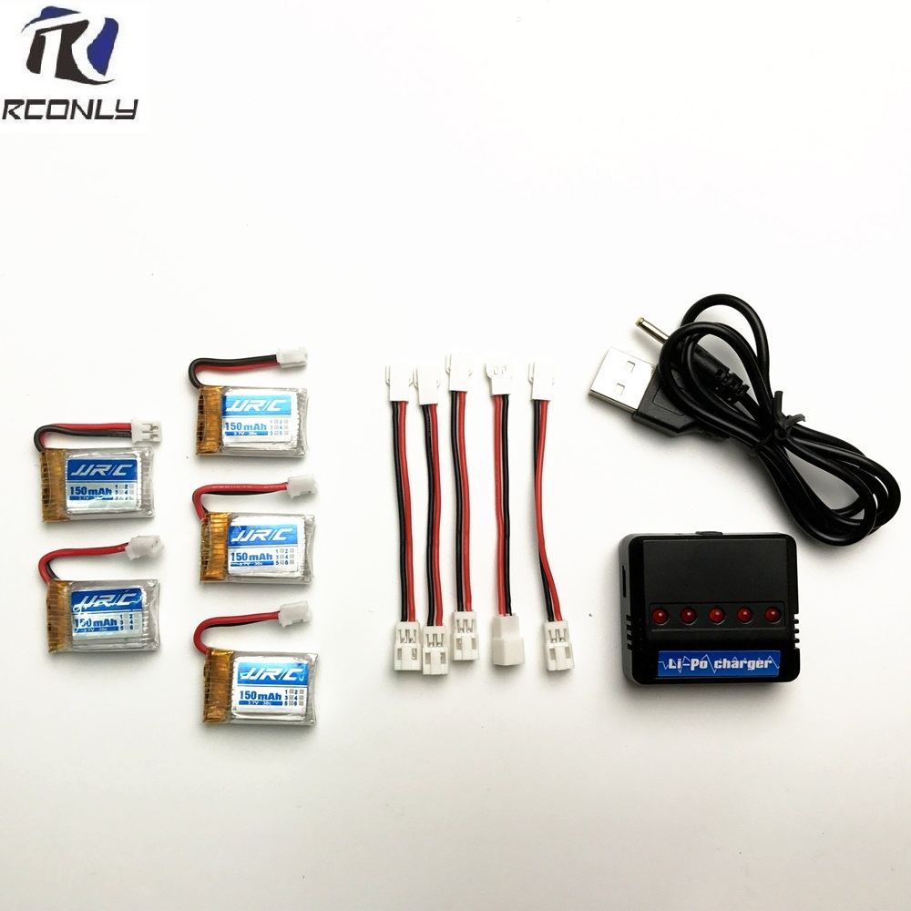 High Quality 5PC <font><b>3.7V</b></font> 150mAh <font><b>Battery</b></font> + 5 in 1 <font><b>Charger</b></font> For JJRC H36 RC Quadcopter Toys Wholesale Free Shipping image