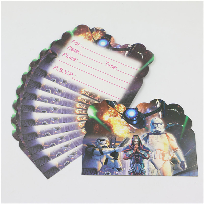 10Pcs Kid Boy Baby Happy 1st Birthday Party Star Wars Cartoon Theme Invitation Cards Decoration Supplies Shower Favors In Disposable Tableware