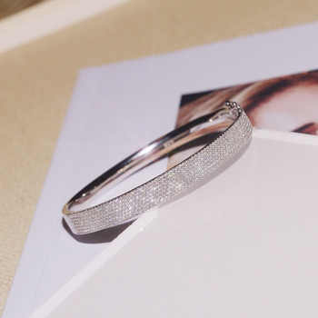 SLJELY Luxury Brand Real 925 Sterling Silver Kaleidoscope Wide Bangle Micro Cubic Zirconia Bracelet Women Fashion Fine Jewelry