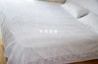 Free Shipping Cotton White Beige Handmade Crochet Bedspread Pillowcase Full Queen Size Crocheted Bed Sheet Lace