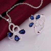 Christmas 2014 Fashion Gifts Silver Plated Wholesale Insets Flower Sapphire Necklace Rings Jewelry Sets SMTS763