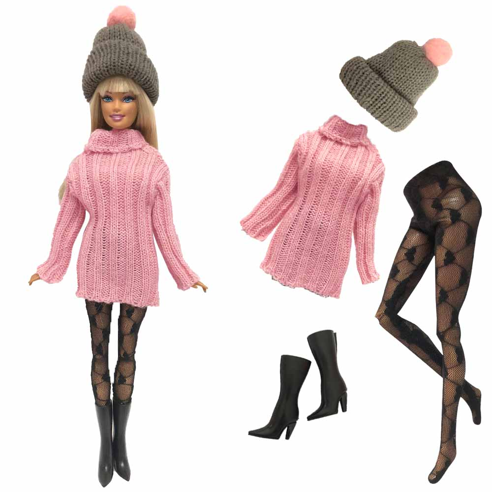 NK One Set Fashion Pink Sweater Uniforms Cool Winter Clothing Dress Set For Barbie Doll Girl Best Gift Doll Accessories 246A DZ