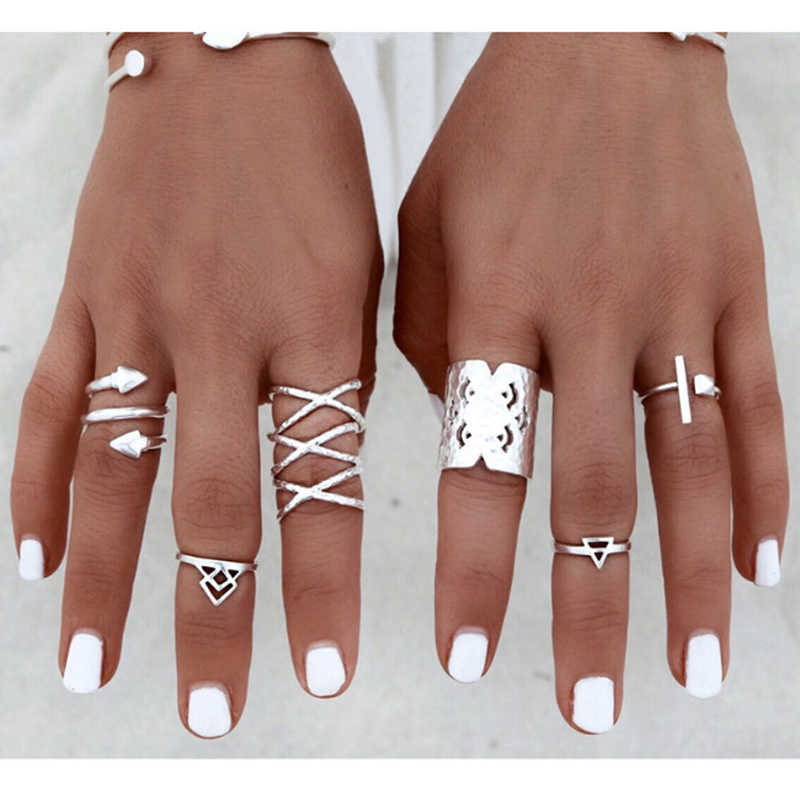 New fashion retro boho silver jewelry Bohemia geometry arrows combination 8pcs / sets rings for women