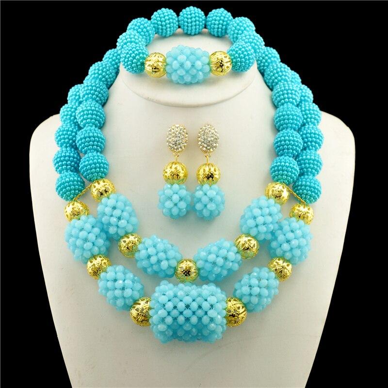 Mode mariage accessoires perles africaines ensembles de bijoux femmes cristal couleur or mariée pendentif collier goutte boucle d'oreille - 3