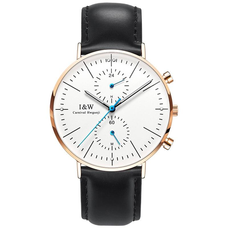 Carnival IW Serier 8757G-5 Waterproof 30m Ultrathin Case Business Men Quartz Watch Wristwatch