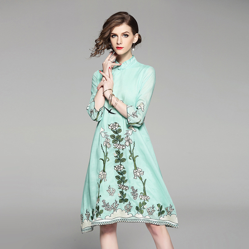 High-end spring summer women Chinese style floral embroidery dress cheongsam elegant loose lady linen Qipao party dress S-XXL