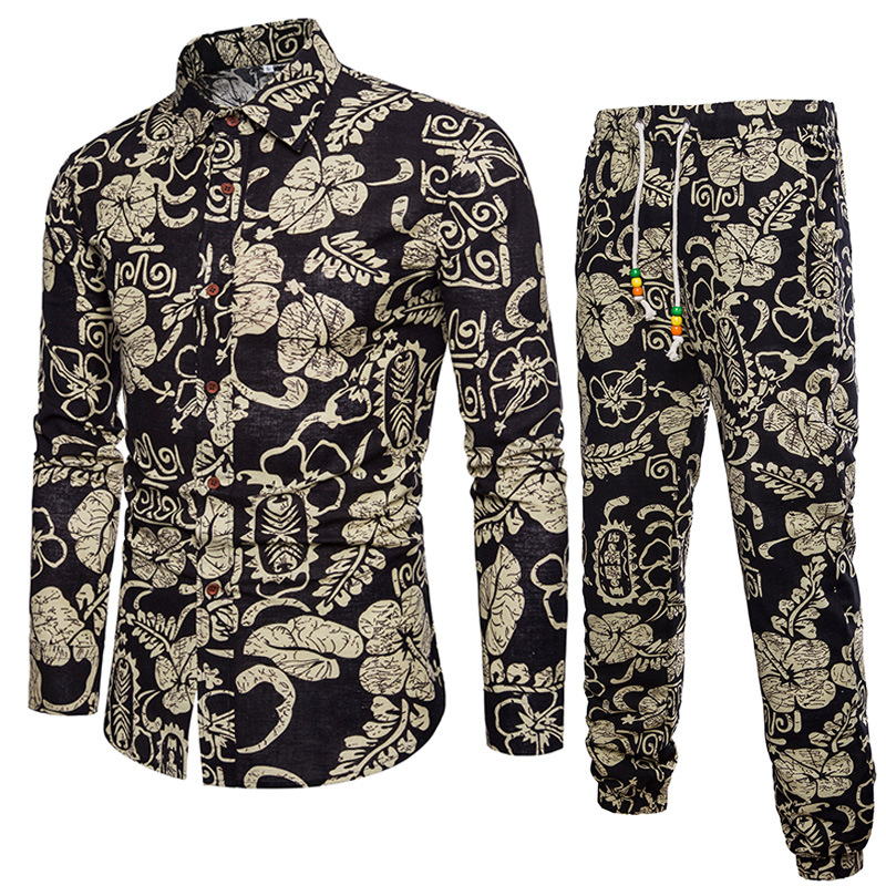 2019 New Style Men's Set Shirts+Pants Casual Fitness Long Sleeve Fashion Design Print Large Size Cotton And Linen M~5XL Spring