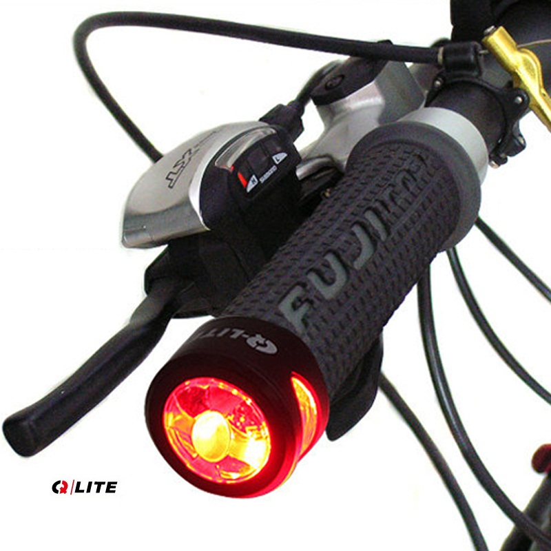 Qlite Bicycle Handlebar End Led Light Mountain Bike Led Rear Light
