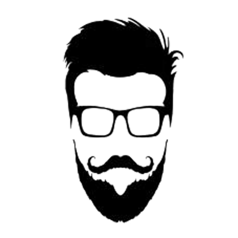 9 3cm15 9cm hipster glasses beard head vinyl car sticker motorcycle black silver