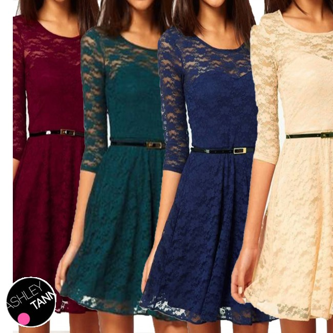 FREE SHIPPING Beige Darkgreen Maroon Navy Winter Skater Womens Cocktail 3 4  Sleeve Vintage Mini Lace Dress 670  ccdb3de2d