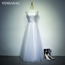 VENSANAC 2018 Crystal O Neck Pleat Long A Line Evening Dresses Elegant Lace Tank Sash Tulle Party Prom Gowns