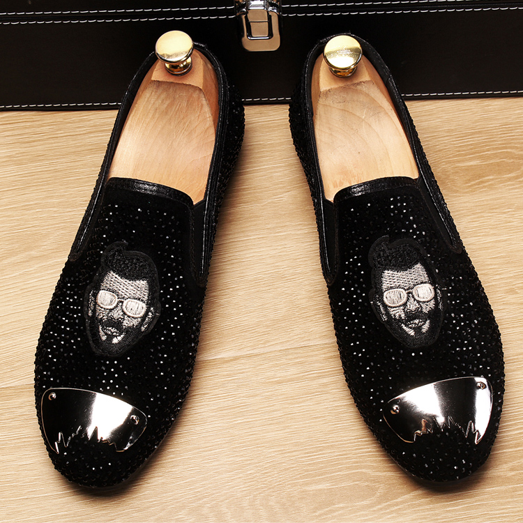 Stephoes 2019 Evening Party Gold Crystals Men's Suede Crafted Slip-on Shoes The Focus of Floor Men Wedding Prom Metal Loafers 45