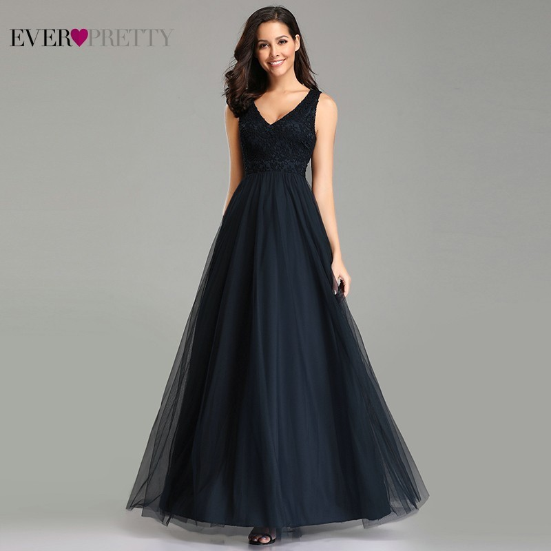 Navy Blue   Bridesmaid     Dresses   Ever Pretty A-Line V-Neck Appliques Elegant Women   Dresses   For Wedding Party Vestido Madrinha 2019