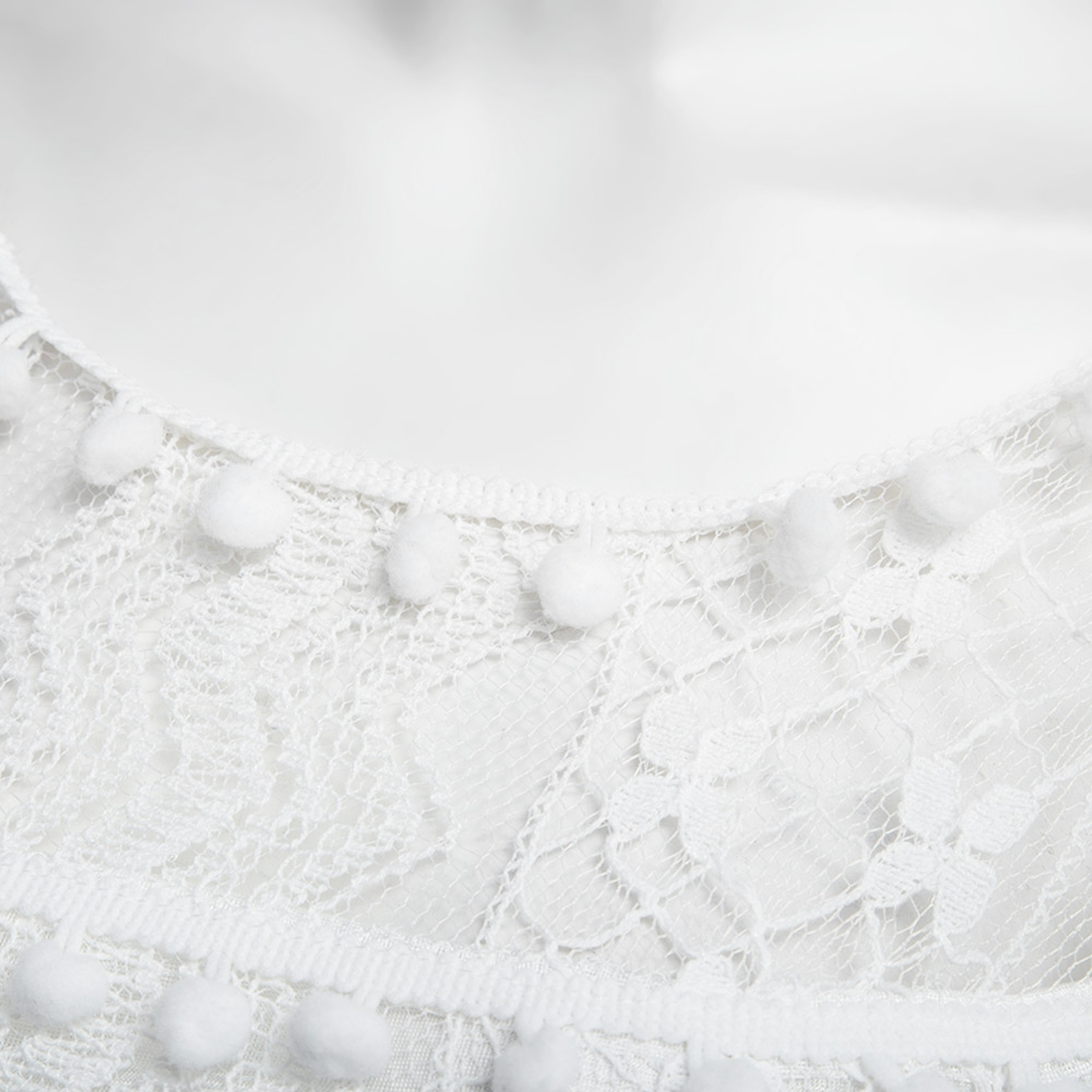 VESTLINDA Lace Dress Women O Neck Sleeveless Solid White Dress Summer 2017 Fresh Style Loose Mini Short Dress Vestidos Plus Size 13