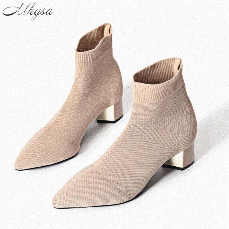 Mhysa 2018 otoño invierno nuevo punto elástico calcetines sólido medio tacón alto botas cortas mujeres Point Toe botines S1062
