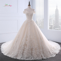 Dream Angel Sexy Backless Boat Neck A Line Wedding Dresses 2018 Appliques Beaded Royal Train Princess