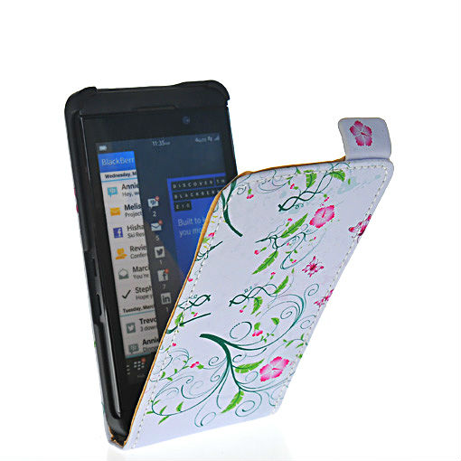 Beautiful delicate flower style leather flip pouch case cover FOR Blackberry Z10 London, Surfboard, L-Series, L10 06