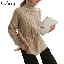 Winter Women Sweater Loose Soft Thick Long Sleeve High Neck pull over woolly Cable Knit Sweater Knitted Jumper Sweaters Pullover