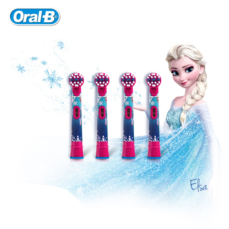 Oral B Children Electric Toothbrush Heads Frozen Tooth Brush Heads Round Brush Heads 4 hedas for 3+ children image