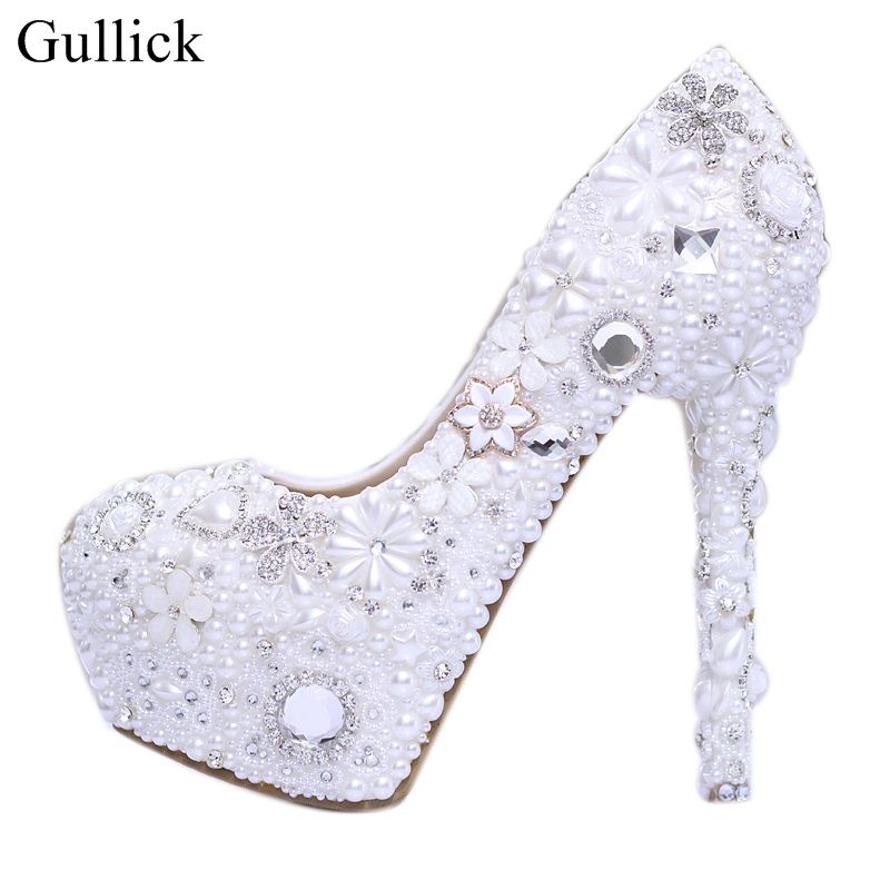 Gullick White Pearls Beaded Wedding Heels Shoes For Woman Sexy Crystal Platform Pumps Round Toe Slup-on Party Dress Shoes new fashion big pearls beaded woman flat shoes 2017 sexy open toe sandal crystal embellished slides