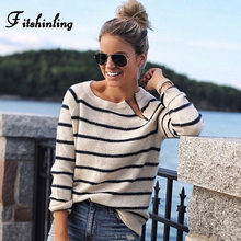 Fitshinling Casual stripes lady's sweater knitwear zipper black white slim jumper long sleeve basic sweaters for women pullovers