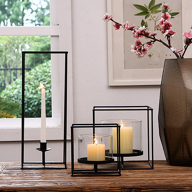 PINNY European Modern Simplicity Geometric Candle Holders Metal Decorative Stand Wedding Gift Tabletop Decor