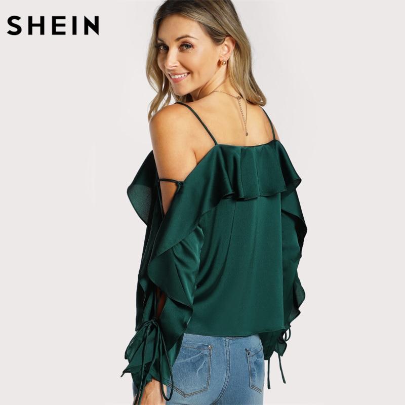 6441297e5f9 SHEIN Silk Spaghetti Strap Ruffle Long Sleeve Blouse ...