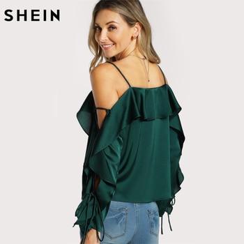 SHEIN Silk Spaghetti Strap Ruffle Long Sleeve Blouse