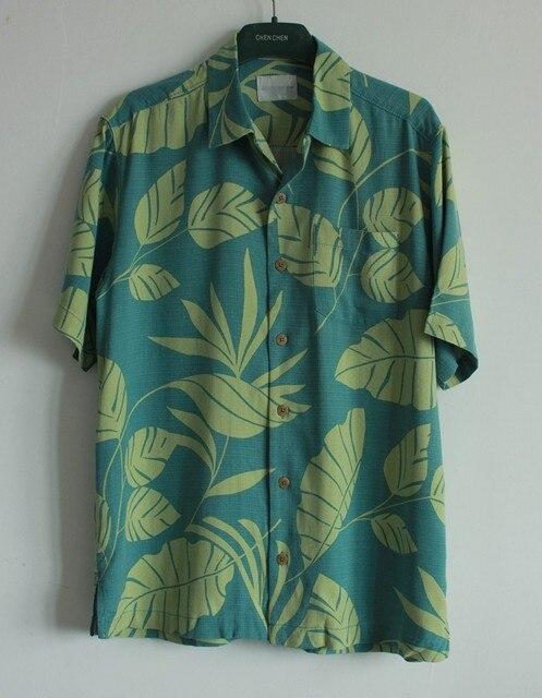 four colors silk short sleeve Hawaiian floral mens patterned ...