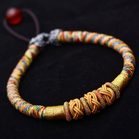 LKO Tibetan Colored Ropes Pineapple Auspicious Knot For Man And Women Bracelet National Style Thai Hand