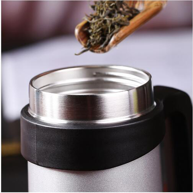 Thermos Cup Stainless Steel Thermos Coffee Mug Drinkware Tea Infuser Cup Vacuum Mug With Strainer & Handle For Coffee Mugs