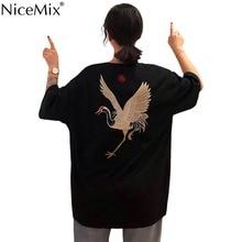 NiceMix Womens Clothing Crane Embroidery Vintage streetwear tshirt loose harajuku Tops BF O-neck Short SLeeve Tees New T-Shirts