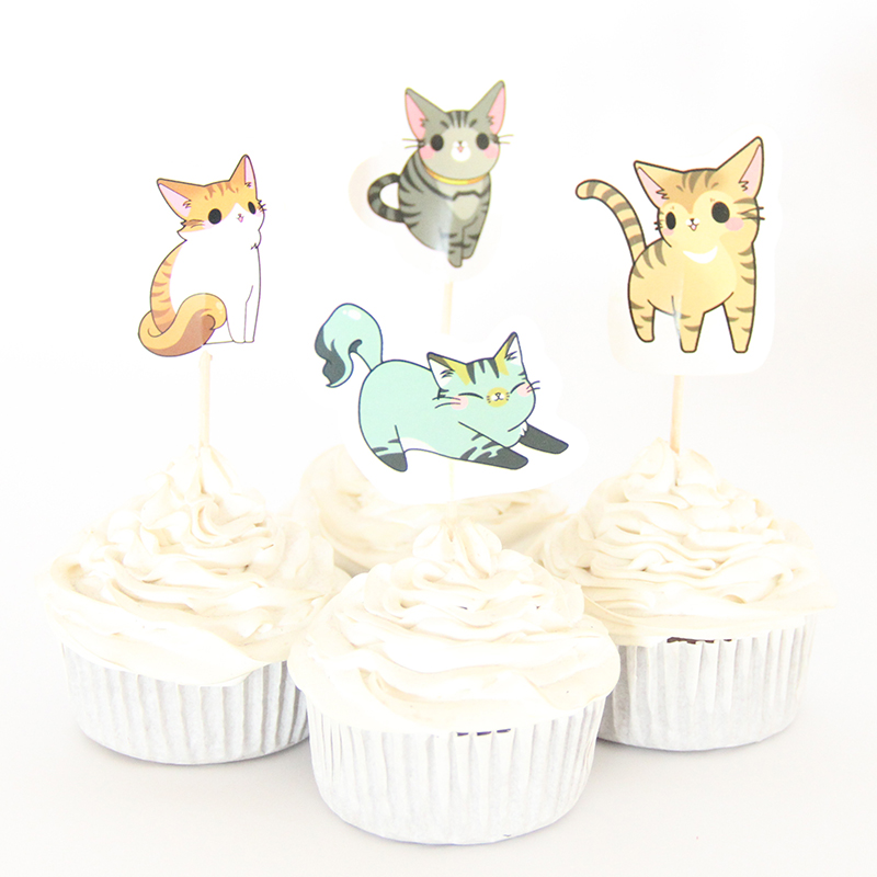 24pac/lot Cute Cat Cupcake Topper Happy Birthday Party Baby Shower Children Party Kids Cake Decor Supplies