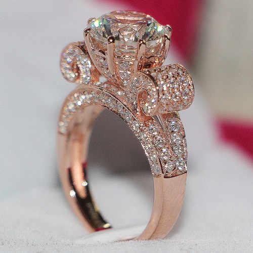 Одноцветное 925 пробы Серебряное кольцо завернутый в розовое золото Роскошные 3Ct фантастический Роуз золото кольцо с бриллиантом