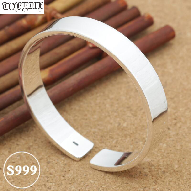 Simple Style Handcrafted 999 Silver Bangle Tibetan Pure Silver Bangle Real Pure Siver Bangle