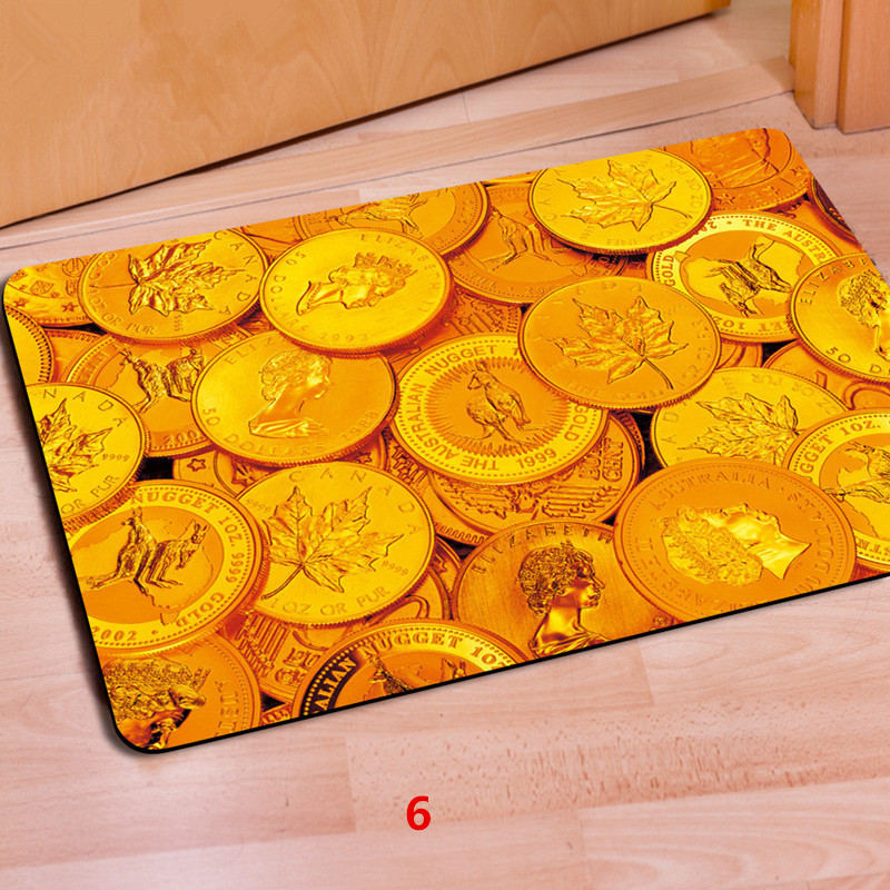 fashion entrance doormat 3d money rubber door mat gold coin stamp printed rug carpet for bedroom - Rubber Door Mat