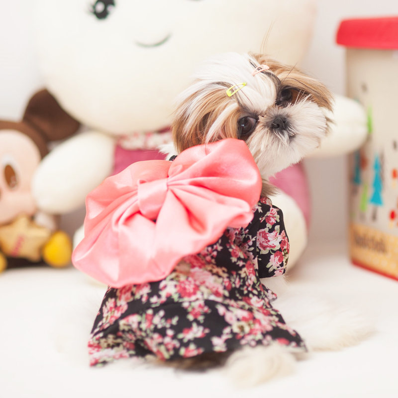 Cute Bows Pet Clothes For Dog Cat Dress Clothes Floral Japanese Kimono Bow Tie Cats Puppy Shirt Costume Princess Dresses Teddy