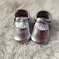 Серебряный Натуральная Кожа Малыша Обуви Детские Мокасины