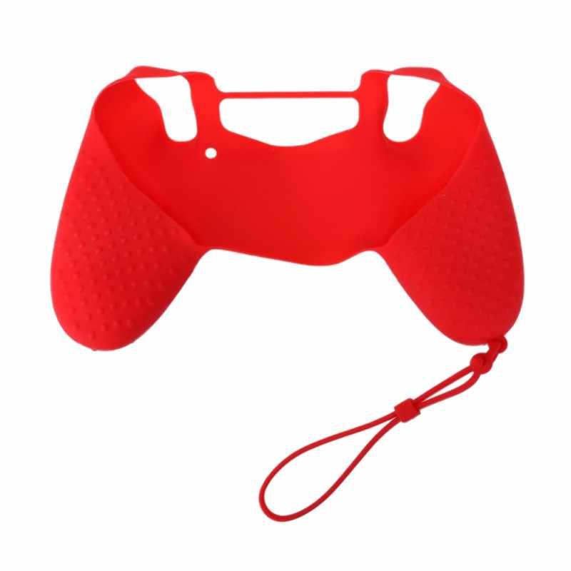 Piel suave de silicona antideslizante cubierta de agarre estuche con cordón accesorios de juego cubierta de mango de punto para Sony PS4 controlador de juego