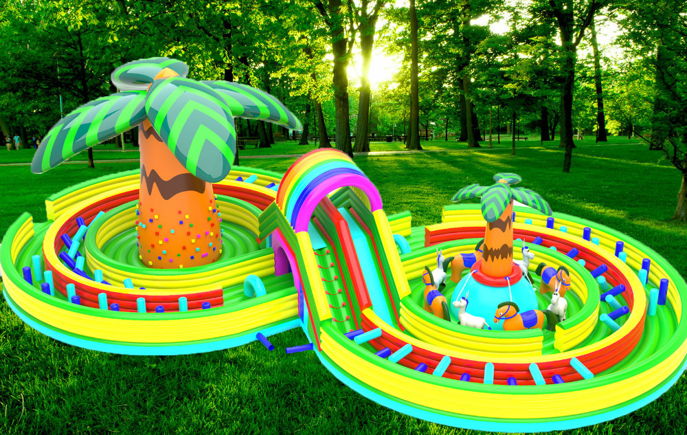 (China Guangzhou) inflatable slides, inflatable castles, Inflatable pool slide 8 characters playground TOB 28