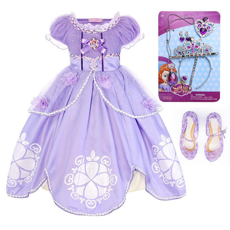 все цены на Pearl Diary Girls Sofia Princess Dress Kids Sophia Sleeping Beauty Party Dresses Child Girl Rapunzel Aurora Prom Purple Costume онлайн
