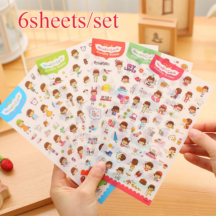 6pcs/set Lovely Girl Sticker Korea Emoji Sticker DIY Anime Decorative My happy Life Toys Diary Scrapbooking Calendar Album Decor