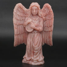 6 Cherub Wings Angel Statue Natural Gemstone Pink Opal Crystal Carved Home  Decor