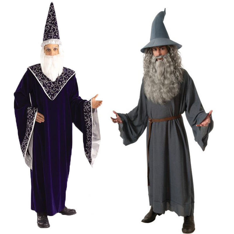 2017 New Adult Hobbit Lord Of The Rings Gandalf Cosplay Costume For Men Halloween Wizard Carnival Cosplay Costume Custom Made