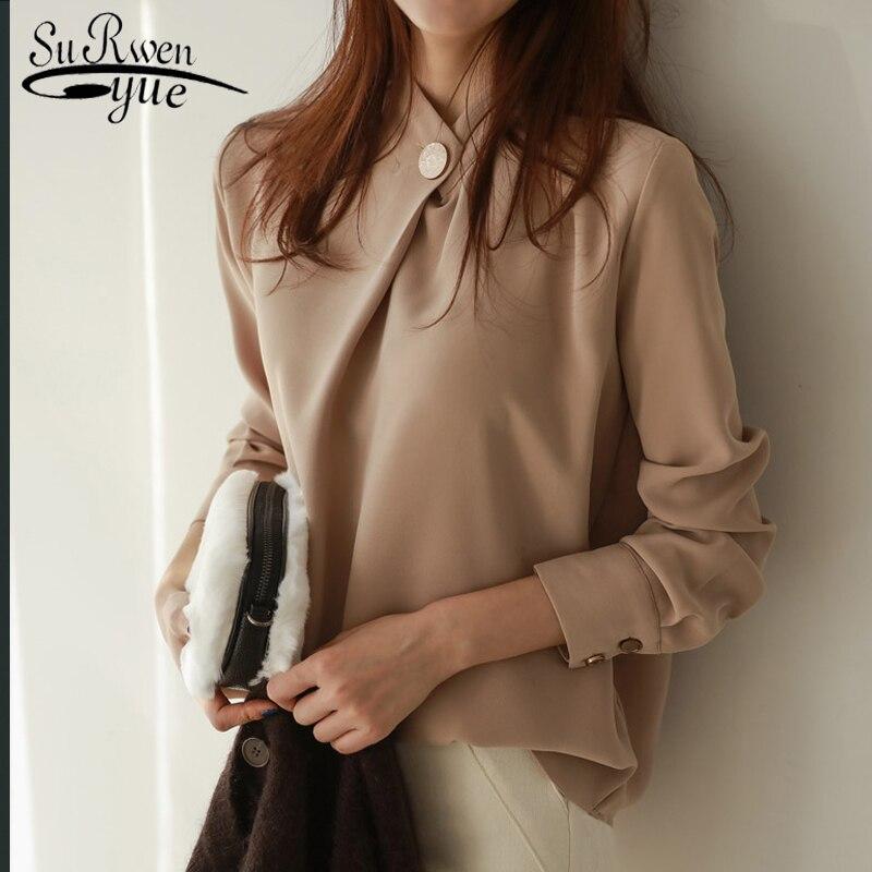 blusas mujer de moda 2018vintage Chiffon sweater Autumn OLstyle women   blouse     shirt   long sleeves stand collar loose blusa 1478 45