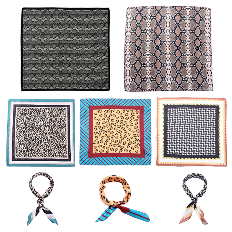 Elegant Women Imitation Silk Square Bandana Geometric Leopard Snakeskin Print Headband Retro Contrast Colored Neck Tie Headwrap